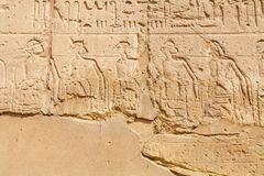 Wall relief at Karnak Temple. Luxor, Egypt royalty free stock images