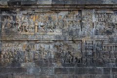 Wall reliefs of ancient Borobudur temple near Yogyakarta, Java, Indonesia Royalty Free Stock Images