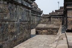 Wall reliefs of Borobudur temple, Java, Indonesia Royalty Free Stock Photo