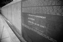 Wall of rememberance B/W. Wall of rememberance, outside of university street light rail station, Seattle ...and so its goodnight my darling, i send you all my Royalty Free Stock Photography