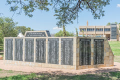 Wall of rememberance at the Womens Memorial. BLOEMFONTEIN, SOUTH AFRICA, JANUARY 26, 2016: A wall of rememberance at the Womens Memorial for the soldiers who stock photo