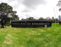 The Wall of Remembrance commemorates New South Wales police officers who have served the State. SYDNEY, AUSTRALIA – On February 3, 2018. – The stock photography