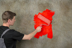 Wall repaint in red Stock Images