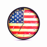 Wall retro clock on American Flag background Stock Photography