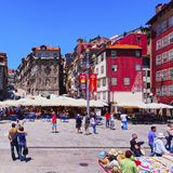 Wall of the Ribeira Shelters in Porto Royalty Free Stock Photo