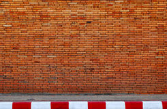 Wall and Road Street. Old Brick Wall and Road Street Royalty Free Stock Photography