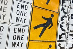 Wall of Road Warning Signs Stock Photography