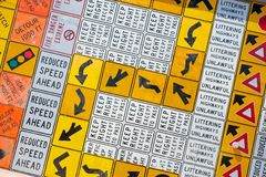 Wall of Road Warning Signs Stock Photos