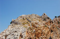 Wall on the rock. Old wall on the rock in Alanya Royalty Free Stock Photo