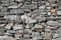 Wall of rocks behind an iron railing Stock Photography
