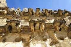 The wall of roman theatre in Aspendos. Aspendos was an ancient city in Pamphylia, Asia Minor, located about 40 km east of the modern city of Antalya, Turkey. It Royalty Free Stock Photos