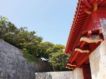 Shurijo Castle Roof Detail. Wall and roof detail at the popular tourist destination of Shurijo Castle Shuri, Naha, Okinawa, Japan Royalty Free Stock Image