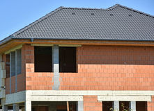 Wall and roof of a new house Royalty Free Stock Photography
