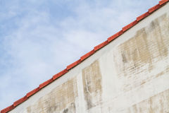 Wall, roof and sky background. Royalty Free Stock Images
