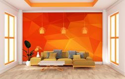Mock up wall in room modern orange style. 3d rendering stock illustration