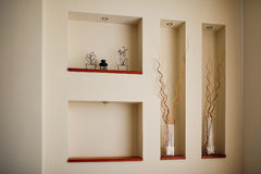 Wall in a room with recesses for decoration Stock Photography