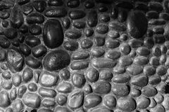 Wall Round Stones Black White Stock Images