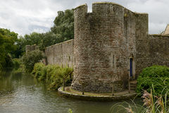 Wall and round tower on moat at Bishop palace ,Wells stock photos