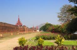 Wall of Royal Palace and Mandalay Hill Stock Photo