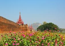 Wall of Royal Palace and Mandalay Hill Royalty Free Stock Photos