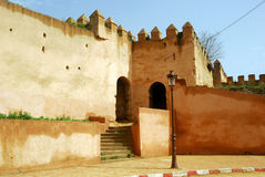 Wall of the Royal Palace, Meknes, Morocco. Meknes is one of the Royal Cities of Morocco, where you can find fine examples of Maghreb architecture Royalty Free Stock Photo