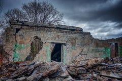 Wall ruined brick house. Royalty Free Stock Photography
