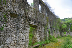 The wall of the ruined builging. Near the Godinje village at Montenegro Stock Photography