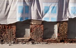 Wall ruined house with decorative curtain Royalty Free Stock Photos