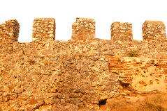 Wall on ruins of fortress in old city Alania, Turkey. Toned Stock Photo