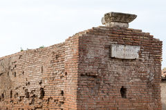 Wall and ruins in Ostia Antica near Rome. And the sea Royalty Free Stock Photo