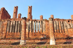 Wall of ruins temple at Ayutthaya Historical Park Royalty Free Stock Photos