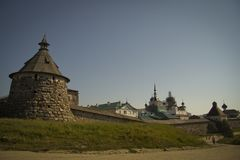 Wall Russian Orthodox Solovetsky monastery made of huge stones. The monastery was founded in the second quarter of the 15th century two monks from the Kirillo Royalty Free Stock Photo