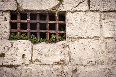 Wall with rusty bars Royalty Free Stock Photos