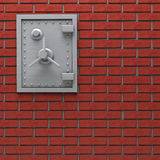 Wall safe. Metal safe in brick wall stock illustration