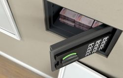 Open Wall Safe And Banknotes stock image