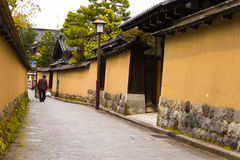 Wall in samurai quarters Stock Photo
