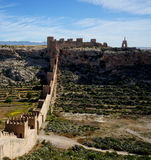 Wall of San Cristobal in Almeria, Spain's fortified castle stock photos
