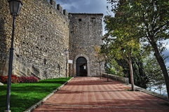 Wall of San Marino castle in hdr Royalty Free Stock Photography