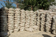 Wall of sand bags Stock Photos