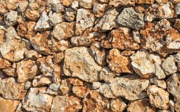 Wall of sand stones on Malta royalty free stock photos