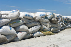 A wall of sandbags Stock Photos
