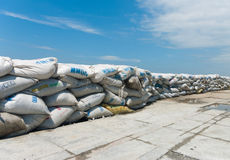 A wall of sandbags Stock Photo