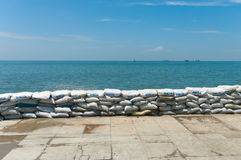 A wall of sandbags Royalty Free Stock Photo