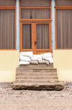 Wall sandbags flood defense beach home Royalty Free Stock Photography