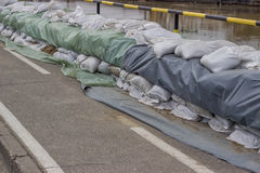 Wall of sandbags for flood defense 2 Stock Images