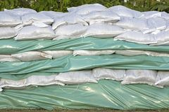 Wall of sandbags Stock Images