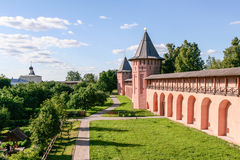 The wall of the Saviour Monastery of St. Euthymius, Russia, Suzdal royalty free stock photo