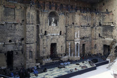 The wall and the scene of the ancient Roman theater in Orange, F royalty free stock photo
