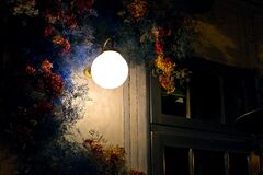 Free Wall Sconce Lantern By The Backyard Window Exterior Lighting. Royalty Free Stock Photos - 216715928