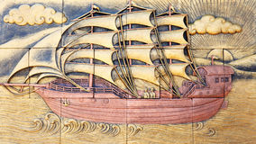 The wall sculpture of chinese junk Stock Photos
